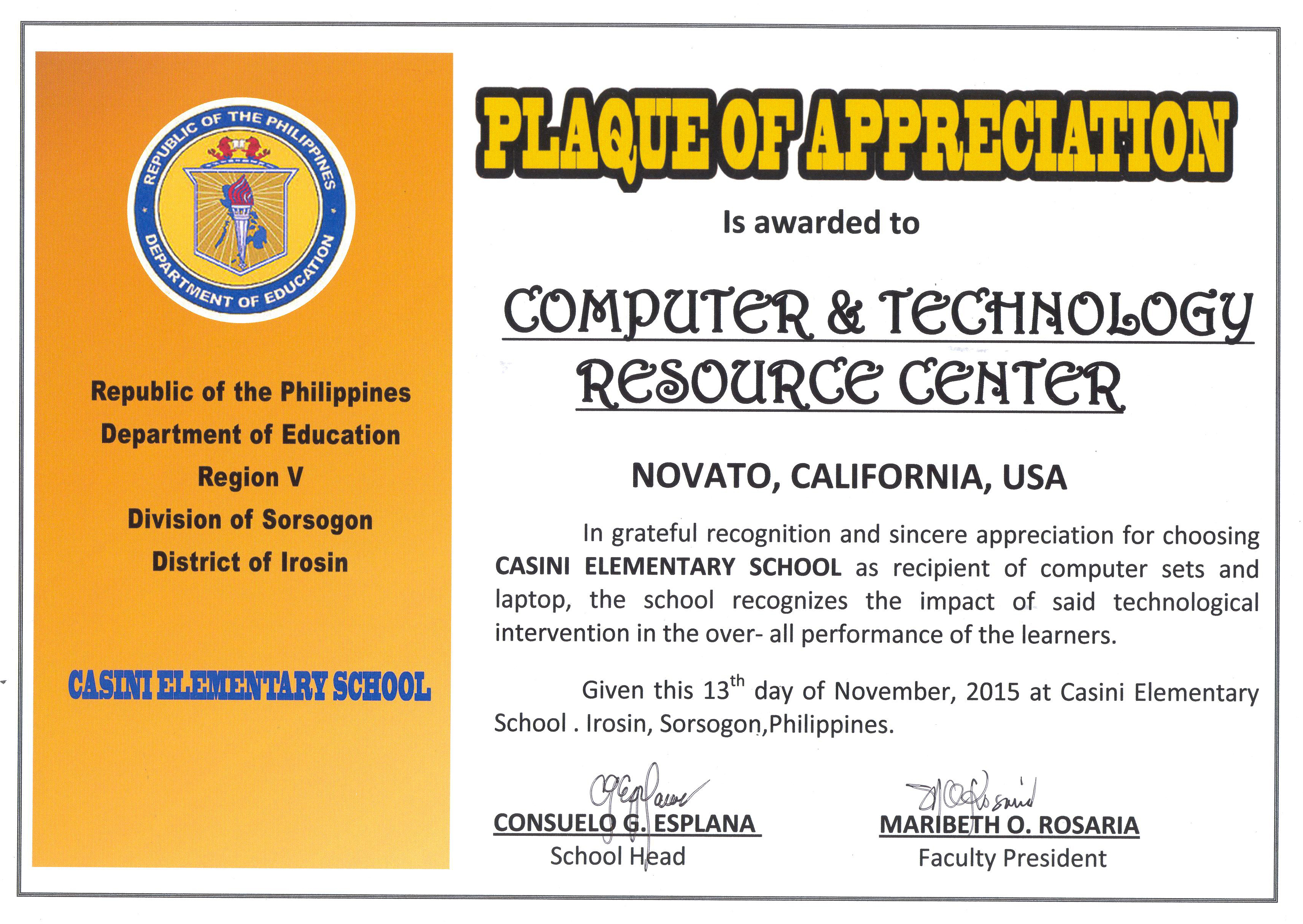 Certificate of appreciation school in phillipines computer certificate of appreciation school in phillipines yadclub Images